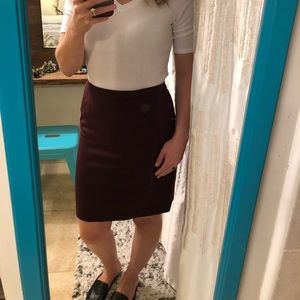 Loft Maroon/Burgundy petite pencil skirt